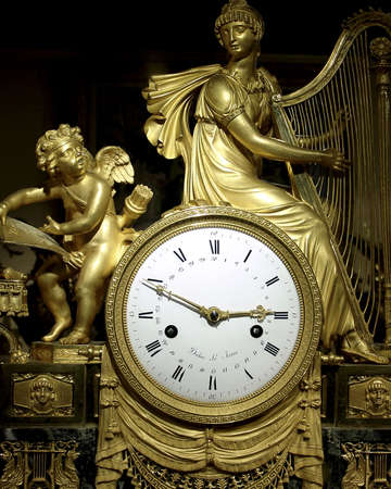 timekeeper: French antique clock from the 19th century Stock Photo