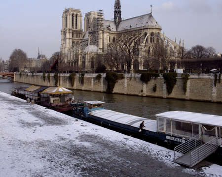 god box: Notre Dame Cathedral with a light covering of snow Stock Photo
