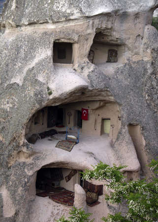 lodger: Home in the Turkish Mountains area of Cappadocia Stock Photo