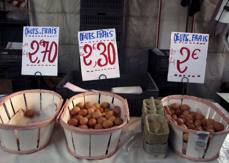 Fresh farm eggs French vilage market