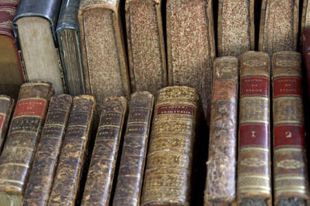 bound: Classical antique French books in Paris Stock Photo