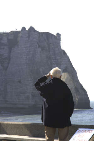 Looking at the beautiful Cliffs in Etretat France in Normandy