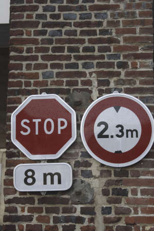 stop signs and heigh limitation for trucks France Reklamní fotografie