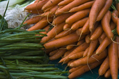 French market carrots at an outdoor market in France Stock Photo - 2467396