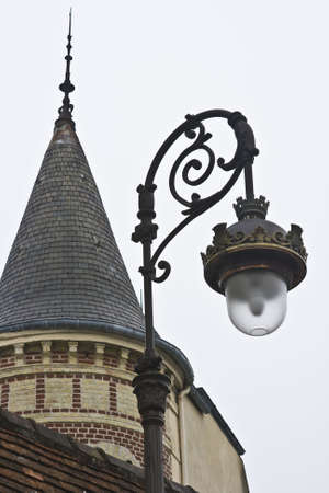 residence: Historic French Residence with street lamp in Normandy