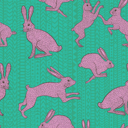 Pink bunny rabbit pattern on geometric bluegreen background for use in quilting fabric design, websites or stationery.
