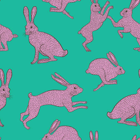 Pink bunny rabbit pattern on plain bluegreen background for use in quilting fabric design, websites or stationery.
