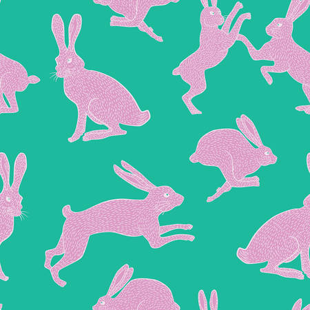 White and pink bunny rabbit pattern on plain bluegreen background for use in quilting fabric design, websites or stationery.
