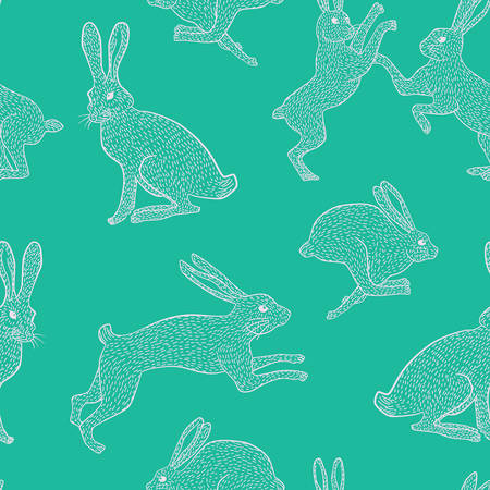 White rabbit pattern for use in quilting fabric design.