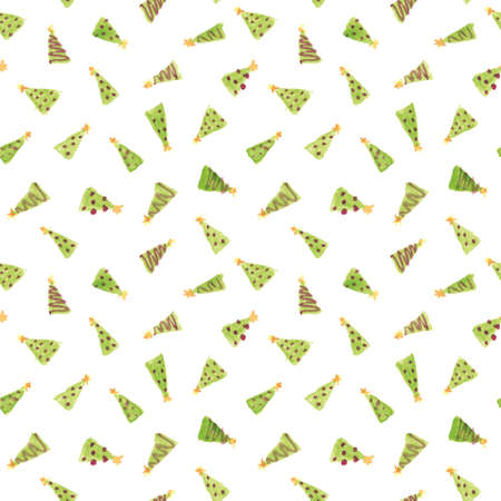 Small Decorated Christmas Tress Hand Painted Watercolor Seamless Pattern