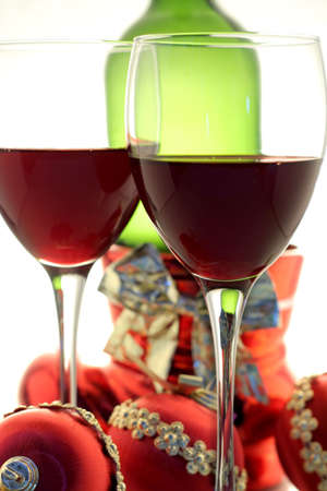 christmas wine for two with christmas balls and bottle