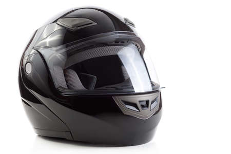 Black flip up helmet for racing motorbike sports
