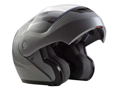 Silver open flip up helmet for racing bike sports Reklamní fotografie