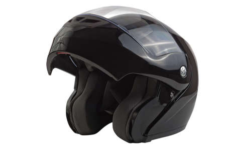 Black open flip up helmet for racing motorbike sports