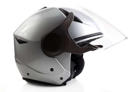 Gray open face motorcycle helmet isolated on white Reklamní fotografie