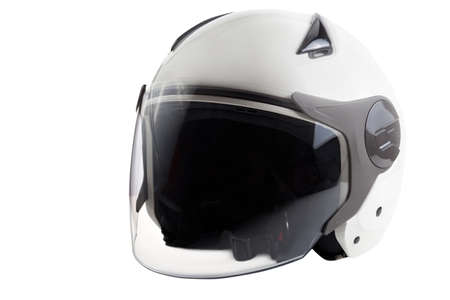 Glossy white scooter helmet isolated on background