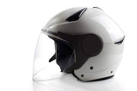 Glossy white quad ATV helmet isolated on background
