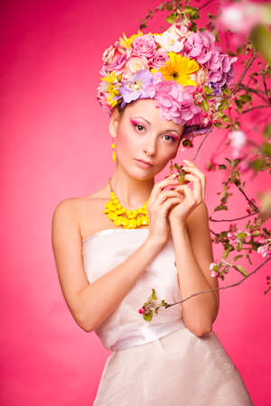 Beautiful girl with flowers on her hair Reklamní fotografie - 36164430