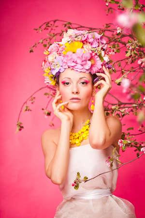Fresh skin Girl with Spring Flowers on her head Reklamní fotografie - 36164440