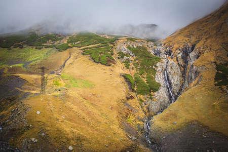 Georgian nature tourism waterfall in mountains
