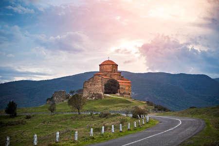 Jvari monastery church Georgia religion landscape Reklamní fotografie - 36174617