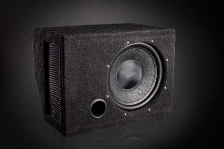 Black subwoofer speaker car audio music system Reklamní fotografie - 37780079