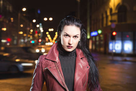 Glamour lady night out in city leather clothes Reklamní fotografie - 38746106