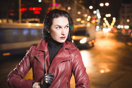 Business woman on a city traffic bokeh background Reklamní fotografie