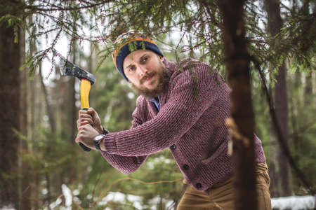 Woodcutter with beard and axe cuts fir tree in winter forest