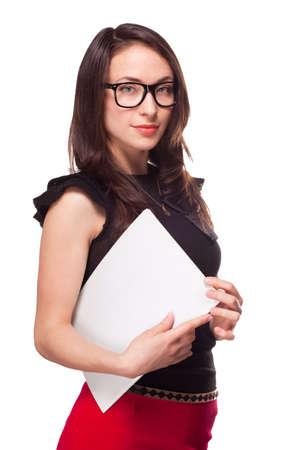 Office girl holding empty paper blank document isolated on white Reklamní fotografie