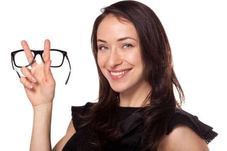 Optics shop sale advertisment woman holding stylish glasses frame Reklamní fotografie