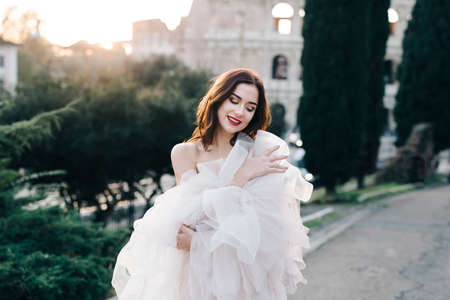 Wedding bride fineart outside Rome colosseum sunset