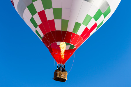 detail colorful hot air balloon in flight flame propane