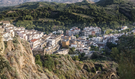 lucania: panoramic view of an old village of Lucania Stock Photo