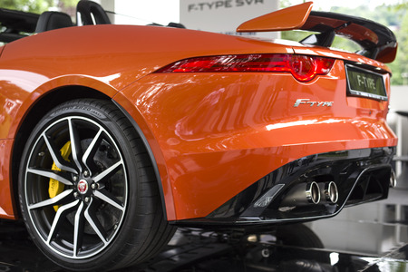 sportcar: TURIN, ITALY - JUNE 9, 2016_ The Jaguar F-Type SVR is on display at Turins open air car show