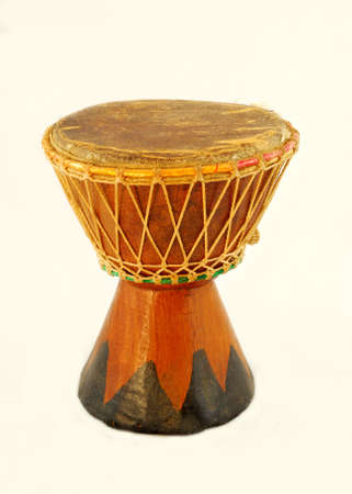 Djembe. Musical instrument of percusion on white background