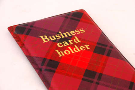 Red business card holder over withe background Stock Photo