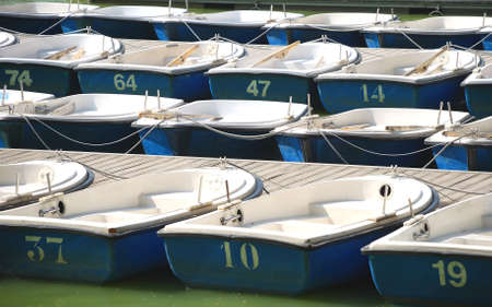 Many blue boats on the lake waiting the rowers