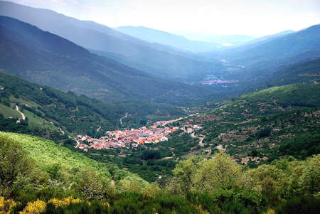 Full view of the  Jerte valley in Spain. Very famous for the magnificent cherry. Stock Photo