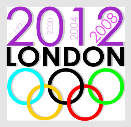 Poster of Olympic Games 2012 in London. Olympic rings colors. Editorial