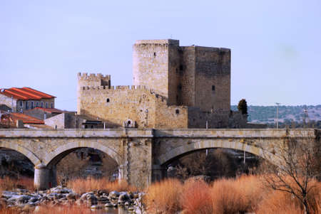 Castle and dry river with bridge and old reeds in the channel