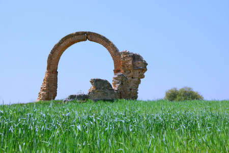 castile leon: Arc of very ancient chapel in Castile Leon  Spain Stock Photo