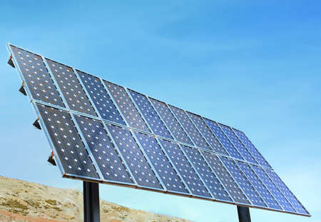 Solar photovoltaic panel on clear blue sky  Consists of 22 plates