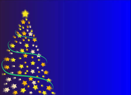 Christmas tree made with stars yellow and orange