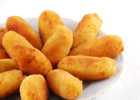 Dish of croquettes of beef and ham Stock Photo