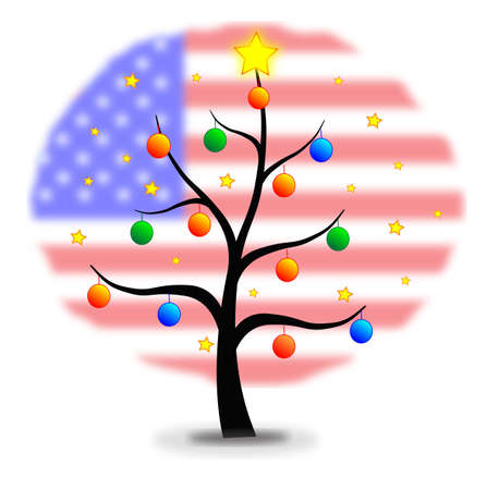 Christmas tree made with stars and balls and flag of USA background Vector