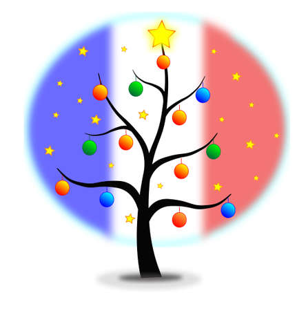 Christmas tree made with stars and balls and flag of France background Stock Vector - 16295447