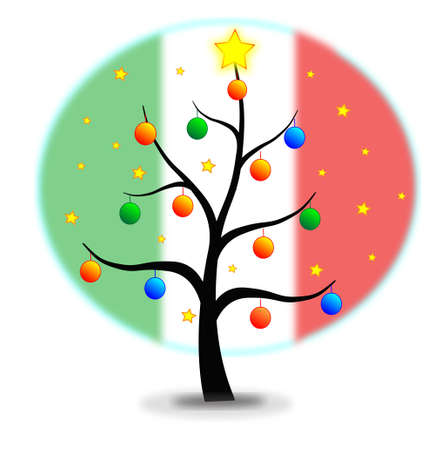 Christmas tree made with stars and balls and flag of Italy background Illustration
