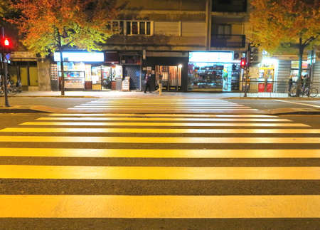 yelow: Zebra crossing at night yelow color and lighting stores Stock Photo