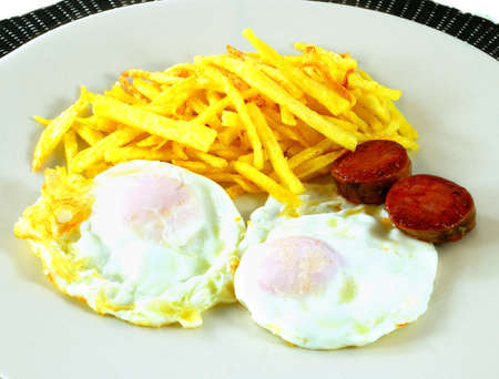 A couple fried eggs and chips and sausage